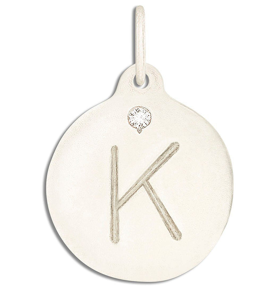 """K"" Alphabet Charm With Diamond - 14k White Gold - Jewelry - Helen Ficalora - 2"