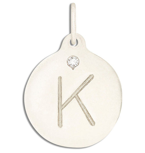 """K"" Alphabet Charm With Diamond Jewelry Helen Ficalora 14k White Gold For Necklaces And Bracelets"