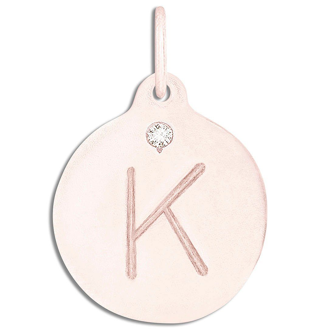 """K"" Alphabet Charm With Diamond Jewelry Helen Ficalora 14k Pink Gold For Necklaces And Bracelets"