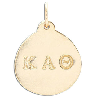 """Kappa Alpha Theta"" Disk Charm Jewelry Helen Ficalora 14k Yellow Gold For Necklaces And Bracelets"