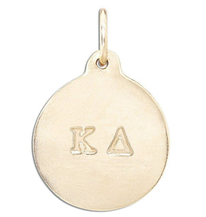"""Kappa Delta"" Disk Charm Jewelry Helen Ficalora 14k Yellow Gold For Necklaces And Bracelets"