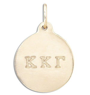 """Kappa Kappa Gamma"" Disk Charm Jewelry Helen Ficalora 14k Yellow Gold For Necklaces And Bracelets"