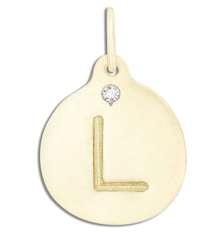 """L"" Alphabet Charm With Diamond Jewelry Helen Ficalora 14k Yellow Gold For Necklaces And Bracelets"