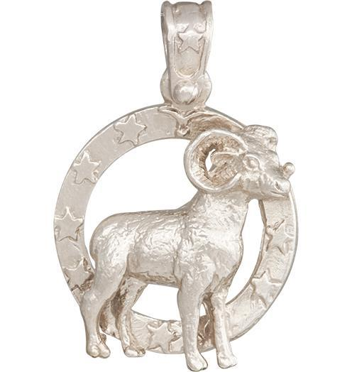 Large Aries Zodiac Charm - 14k White Gold - Jewelry - Helen Ficalora - 3