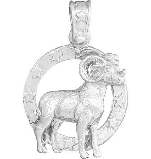 Large Aries Zodiac Charm - Sterling Silver - Jewelry - Helen Ficalora - 4