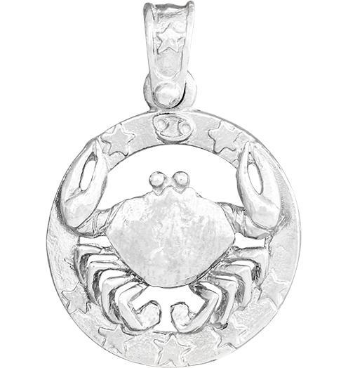 Large Cancer Zodiac Charm - Sterling Silver - Jewelry - Helen Ficalora - 4