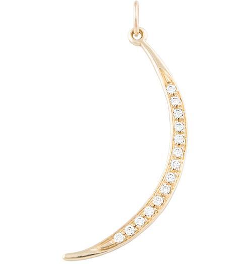 Large Crescent Moon Charm Pave Diamonds - 14k Yellow Gold - Jewelry - Helen Ficalora - 1