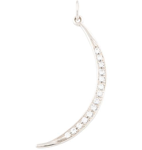 Large Crescent Moon Charm Pave Diamonds - 14k White Gold - Jewelry - Helen Ficalora - 2