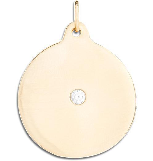 Large Disk Charm With Diamond - 14k Yellow Gold - Jewelry - Helen Ficalora - 1