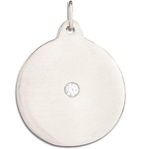 Large Disk Charm With Diamond - 14k White Gold - Jewelry - Helen Ficalora - 2