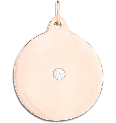 Large Disk Charm With Diamond - 14k Pink Gold - Jewelry - Helen Ficalora - 3