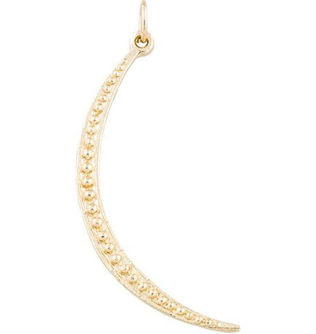 Large Dotted Crescent Moon Charm - 14k Yellow Gold - Jewelry - Helen Ficalora - 1