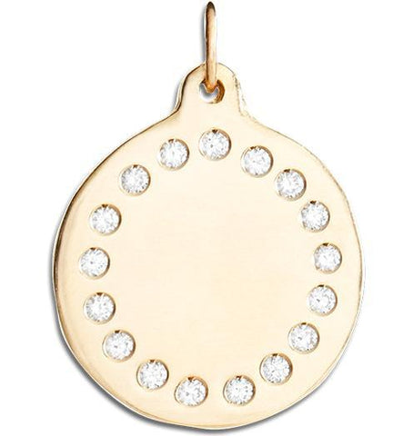Large Eternity Disk Charm Pave Diamonds - 14k Yellow Gold - Jewelry - Helen Ficalora - 1