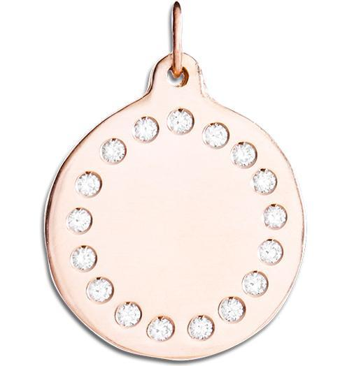 Large Eternity Disk Charm Pave Diamonds - 14k Pink Gold - Jewelry - Helen Ficalora - 3