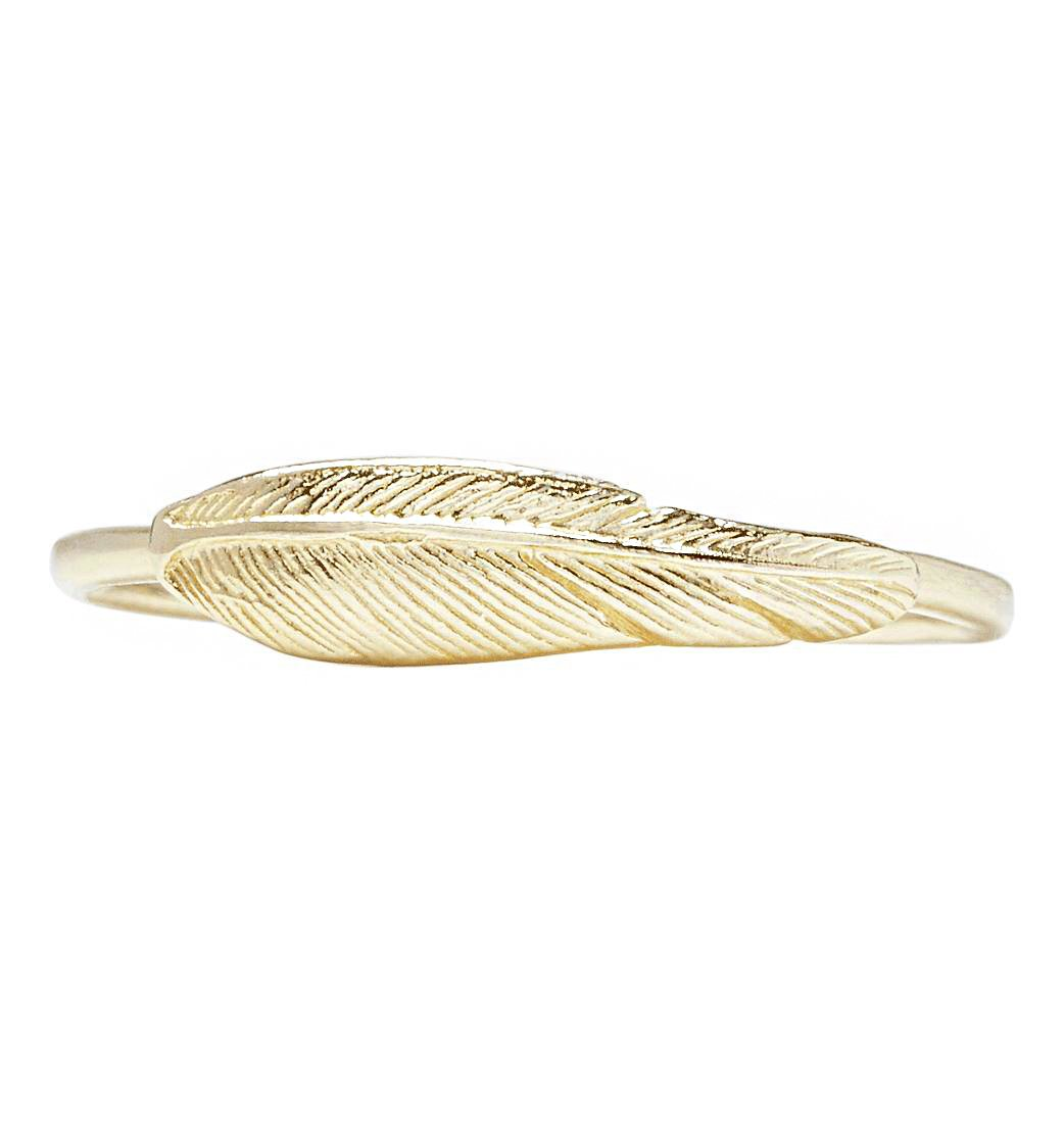Large Feather Stacking Ring Jewelry Helen Ficalora 14k Yellow Gold 6