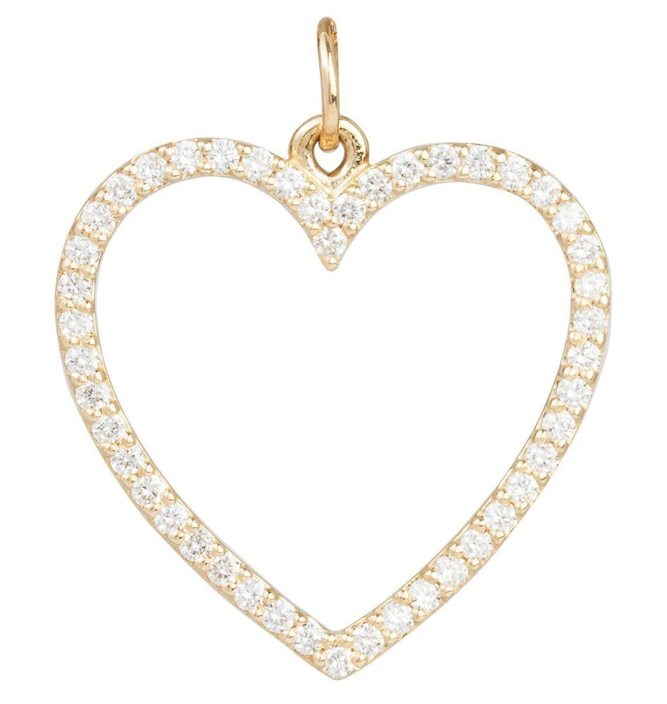 Large Heart Charm Pave Diamonds Jewelry Helen Ficalora 14k Yellow Gold