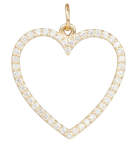 Large Heart Charm Pave Diamonds Jewelry Helen Ficalora 14k Yellow Gold For Necklaces And Bracelets