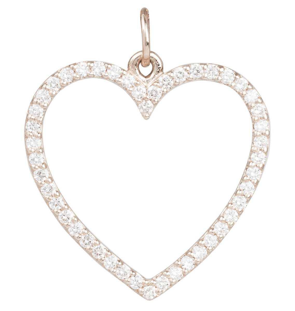 Large Heart Charm Pave Diamonds Jewelry Helen Ficalora 14k White Gold For Necklaces And Bracelets