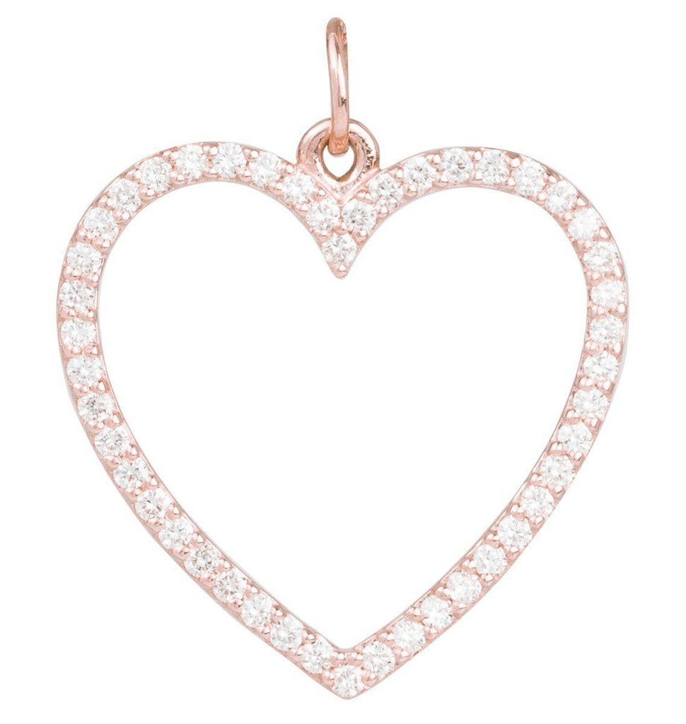 Large Heart Charm Pave Diamonds Jewelry Helen Ficalora 14k Pink Gold For Necklaces And Bracelets