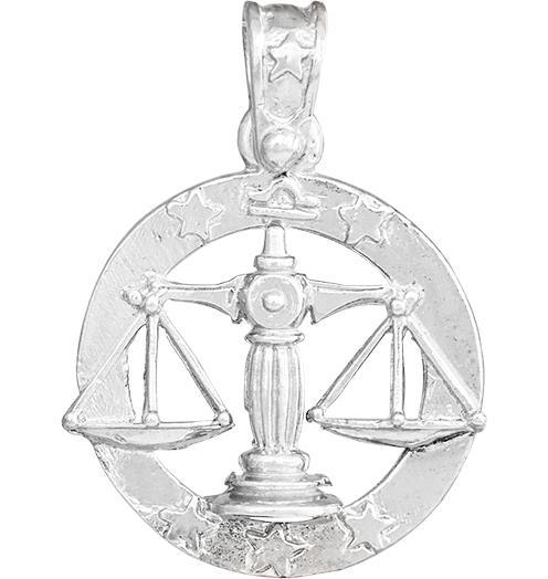 Large Libra Zodiac Charm - Sterling Silver - Jewelry - Helen Ficalora - 4