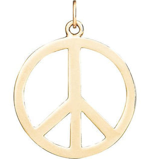 Large Peace Sign Cutout Charm Jewelry Helen Ficalora 14k Yellow Gold For Necklaces And Bracelets