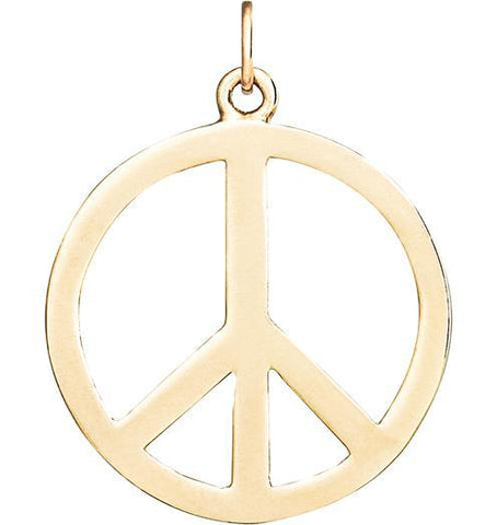 Large Peace Sign Cutout Charm - 14k Yellow Gold - Jewelry - Helen Ficalora - 1