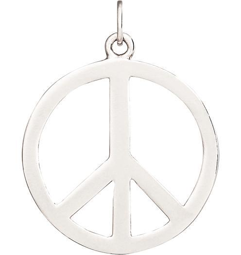 Large Peace Sign Cutout Charm - 14k White Gold - Jewelry - Helen Ficalora - 2