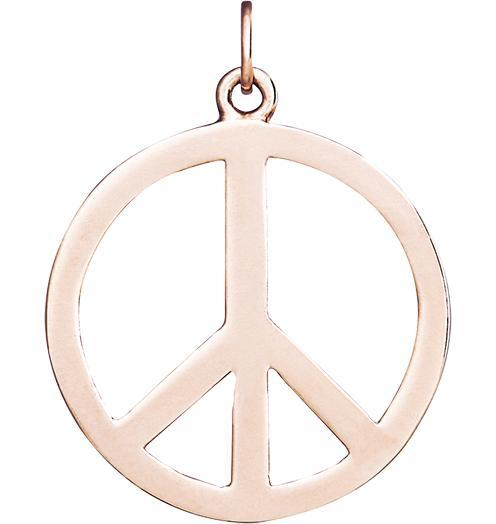 Large Peace Sign Cutout Charm - 14k Pink Gold - Jewelry - Helen Ficalora - 3