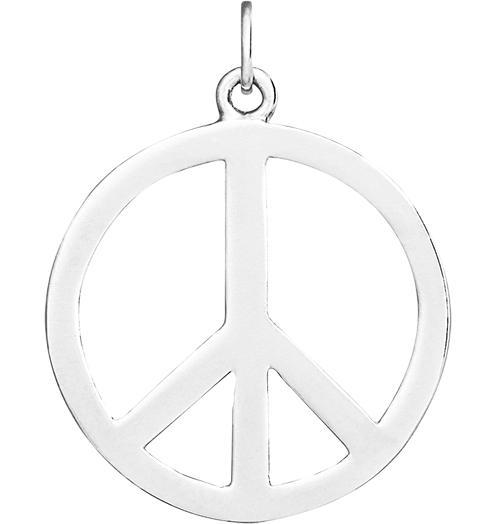 Large Peace Sign Cutout Charm - Sterling Silver - Jewelry - Helen Ficalora - 4