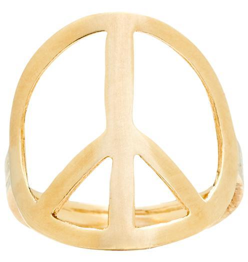 Large Peace Sign Ring - 14k Yellow Gold / 6 - Jewelry - Helen Ficalora - 1
