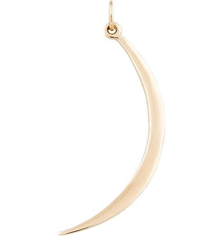 Large Smooth Crescent Moon Charm Jewelry Helen Ficalora 14k Yellow Gold