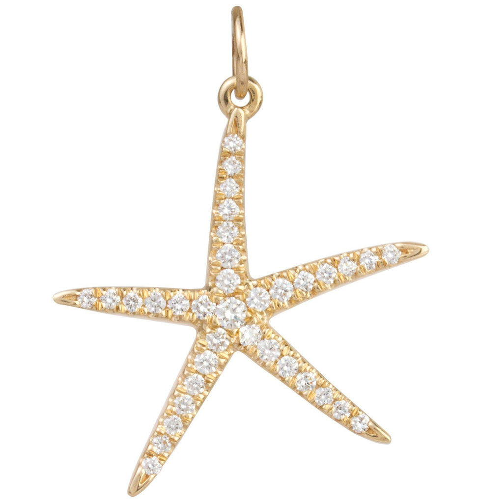 Large Starfish Charm Pavé Diamonds Jewelry Helen Ficalora 14k Yellow Gold
