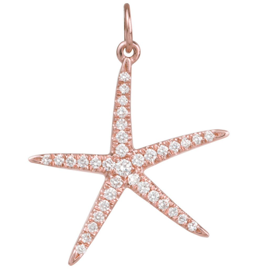 Large Starfish Charm Pavé Diamonds Jewelry Helen Ficalora 14K Pink Gold