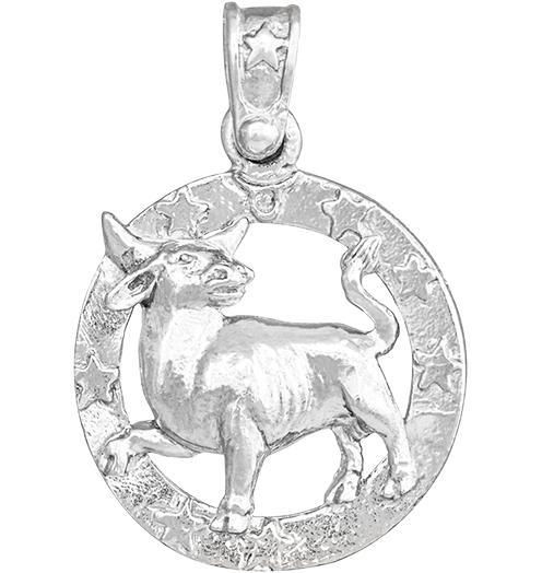 Large Taurus Zodiac Charm - Sterling Silver - Jewelry - Helen Ficalora - 4
