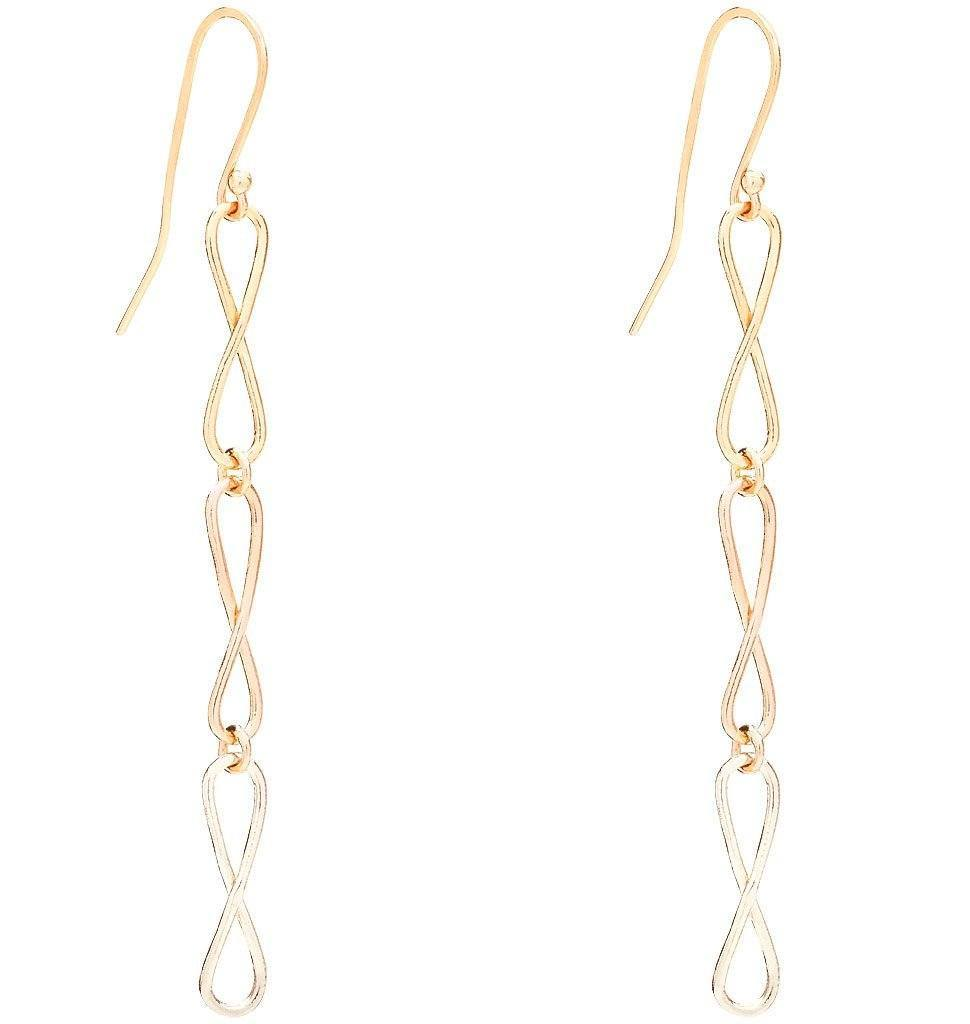Large Tri Color Infinity Dangle Earrings Jewelry Helen Ficalora 14k Yellow, White and Pink Gold