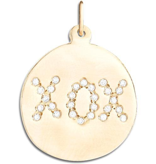 "Large ""XOX"" Disk Charm Pave Diamonds Jewelry Helen Ficalora 14k Yellow Gold"