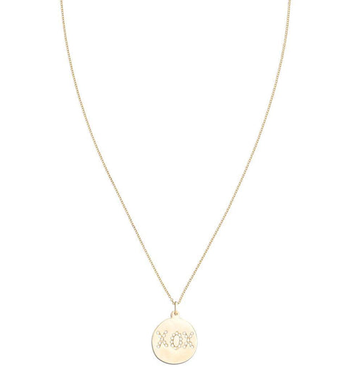 "Large ""XOX"" Disk Charm Pave Diamonds Jewelry Helen Ficalora"