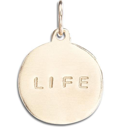 """Life"" Disk Charm - 14k Yellow Gold - Jewelry - Helen Ficalora - 1"