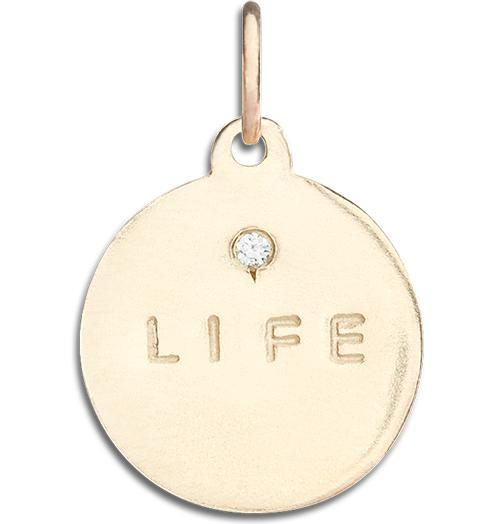 """Life"" Disk Charm With Diamond Jewelry Helen Ficalora 14k Yellow Gold For Necklaces And Bracelets"