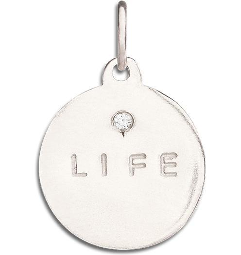 """Life"" Disk Charm With Diamond Jewelry Helen Ficalora 14k White Gold For Necklaces And Bracelets"