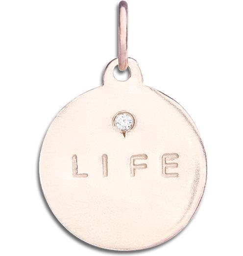 """Life"" Disk Charm With Diamond Jewelry Helen Ficalora 14k Pink Gold For Necklaces And Bracelets"