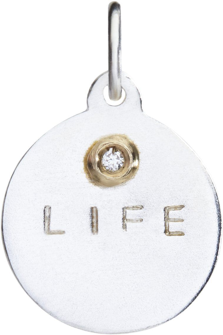 """Life"" Disk Charm With Diamond Jewelry Helen Ficalora Sterling Silver And 14k Yellow Gold For Necklaces And Bracelets"