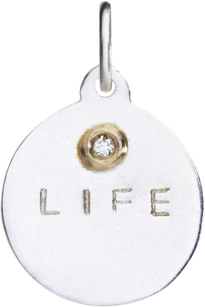 """Life"" Disk Charm With Diamond Jewelry Helen Ficalora Sterling Silver And 14k Yellow Gold"