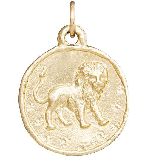 Lion Coin Charm - 14k Yellow Gold - Jewelry - Helen Ficalora - 1