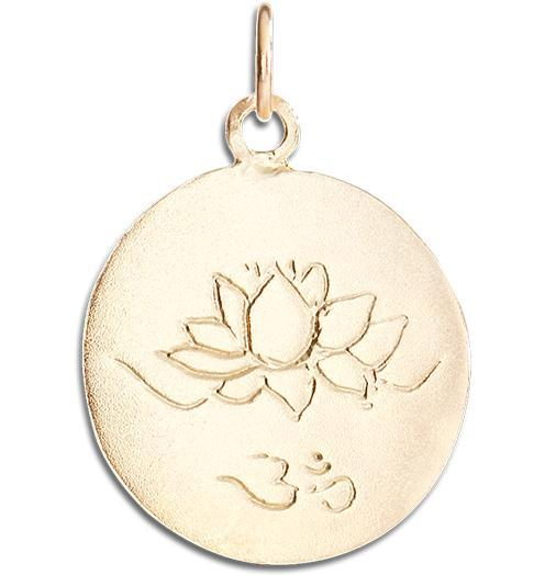 Lotus Om Disk Charm - 14k Yellow Gold - Jewelry - Helen Ficalora - 1