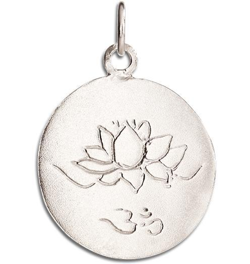 Lotus Om Disk Charm - 14k White Gold - Jewelry - Helen Ficalora - 2