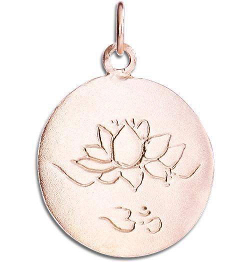 Lotus Om Disk Charm - 14k Pink Gold - Jewelry - Helen Ficalora - 3