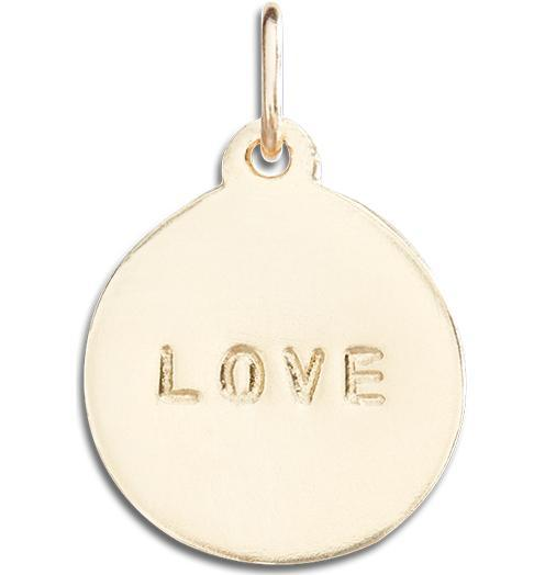 """Love"" Disk Charm Jewelry Helen Ficalora 14k Yellow Gold"