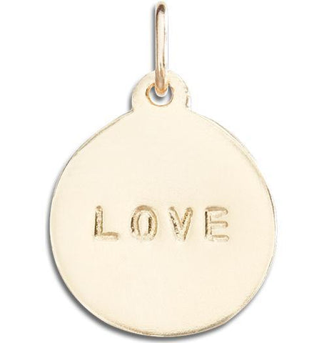 """Love"" Disk Charm Jewelry Helen Ficalora 14k Yellow Gold For Necklaces And Bracelets"