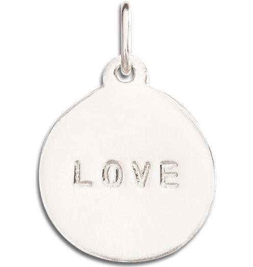 """Love"" Disk Charm Jewelry Helen Ficalora 14k White Gold For Necklaces And Bracelets"